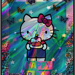 holographic kitty birthday cakes cute nc86 freetoedit echappybirthdayhellokitty happybirthdayhellokitty hbdhellokitty