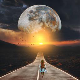 moon sun road desert birds walkingwoman freetoedit