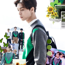 johnny johnnysuh nct nctu nct127 wallpaper green yellow sunflower panetone john_d bright bacground paper sprout airport fashion freetoedit