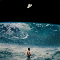 earth astronout sea wave freetoedit