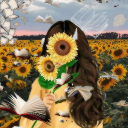 flyingbooks ilovebooks wereinthistogether nature sunflowerinmyhand sunflowerselfie iloveyellow freetoedit