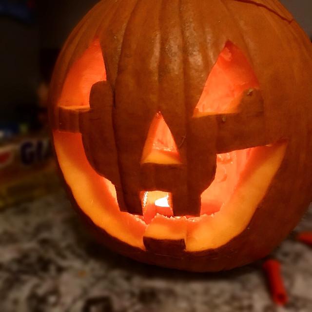 I carved my first pumpkin today! #pumpkin #carving #iphonephotography #interesting #art #jackolantern #halloween #fun #cute #smile