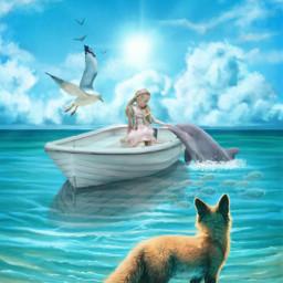 sea seashore fox dolphin boat girlinboat sailing water sunlight animals animallover blue freetoedit