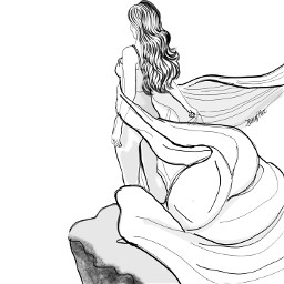 outline outlinedrawing girl cliff linedrawing finishit colorit editit flowing fabric art sketch illustration makeawesome freetoedit