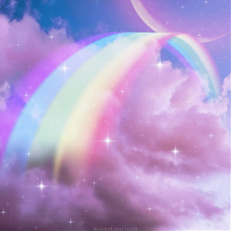 picsart heypicsart madewithpicsart galaxy rainbow moon clouds surrealism surreal plrd3 moonandstars stars starry rainbowlight freetoedit