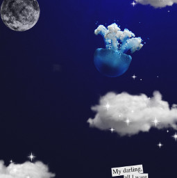 unsplash moon cloud clouds jellyfish ocean magical sparkle blue quote aethestic underwater sea sealife oceanlife freetoedit