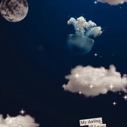 moon cloud clouds jellyfish ocean magical sparkle blue quote aethestic underwater sea sealife oceanlife unsplash freetoedit