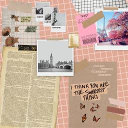 pink paris london scrapbook pastel aethstic pinkaethetic freetoedit