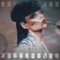 freetoedit girl flower cigarette black ircdandelionsilhouette