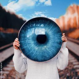 eye blue reflection remix picsart freetoedit
