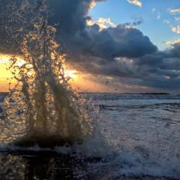 sunset naturephotography sea waves watersplash