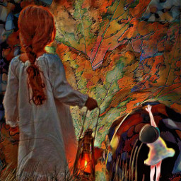 tunnel background girl lantern leaves maple colorful autumn freetoedit