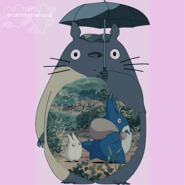 Double exposure edit of Totoro with chibi and Chu Totoro in his belly #totoro #doubleexposure