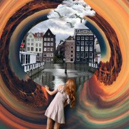 fantasy imagination amsterdam girl looking canal colorful madewithpicsart myedit myart mystyle creativity interesting diversity freetoedit