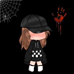 blood dark black gachaverse gachalife gachaclub socks anime domino hoodie cap chains spider blush edit hair interesting art pose kawaii emo faceless web freetoedit