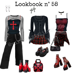 niche aesthetic polyvore corset plaid gothgf chains tiktok alt red black halloween goth skirt punk shirt midiskirt maryjaneshoes death vintage style lookbook outfit freetoedit