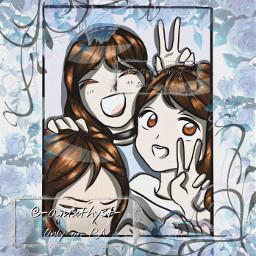 art friends girls digitalart drawing digitaldrawing template happy blue flowers