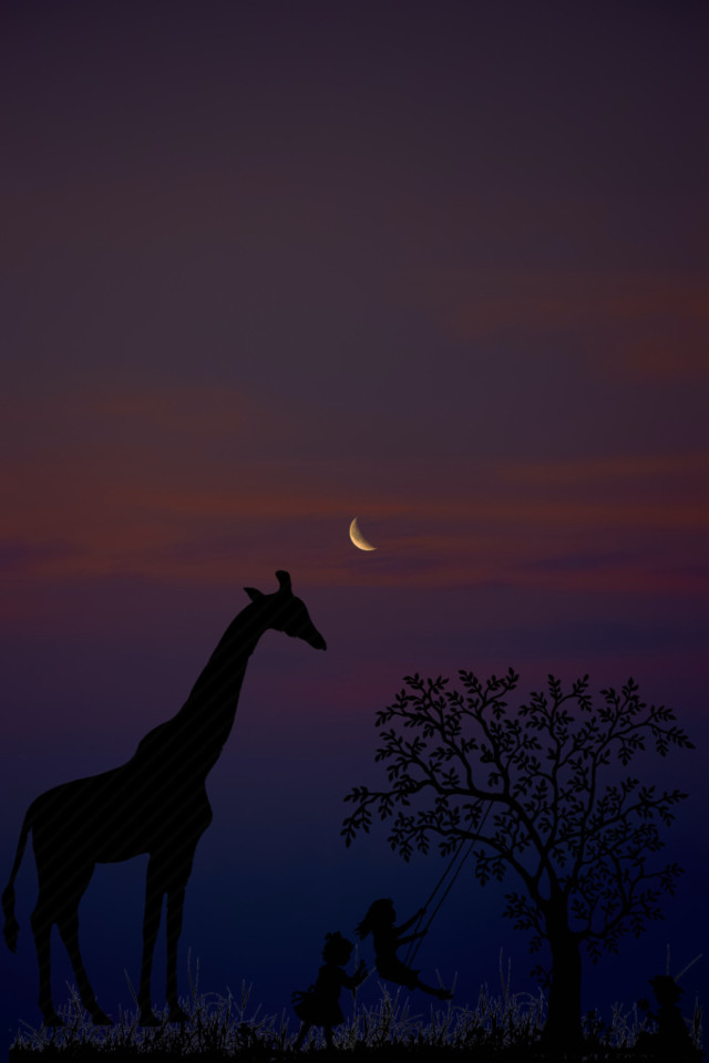 #giraffe #silhouette #moon #clouds #background #backgrounds #remixit #freetoedit