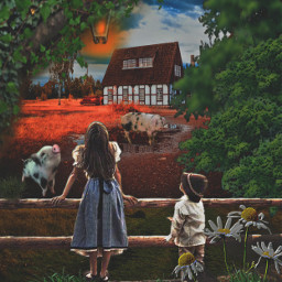 my brother sister farmhouse pigs fence trees lantern puddle daisyflower op freetoedit