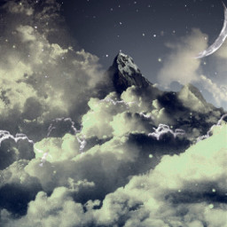 freetoedit mountains sky moon clouds
