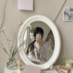 aesthetic korean koreangirl beautiful mirror flower