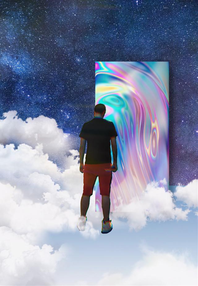 #surreal #space #clouds #sky #people #interesting #art #popart #holographic #door #doorway #man #night #stars #weird