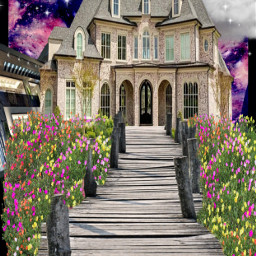flowers flowerbed mansion woodwalkway sky photography interesting art homes artography summer london france italy nature night day winter spring fall picsart vipshoutout clouds burymehere beauty freetoedit