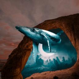 whale moon sky gate surreal freetoedit