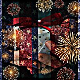 redwhiteandblue hdreffect fireworks remixed present gift bow freetoedit