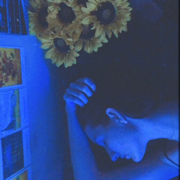 freetoedit blue sunflowers blueaesthetic aesthetic original photography abstract flowers girl night latenight mood people woman artistic