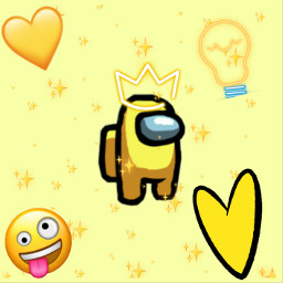 yellow amoungus yellowamongus amoung us heart hearts yellowhearts sillyface lightbulb crown yellowcrown stars freetoedit