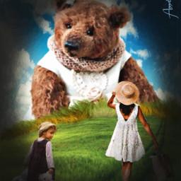 teddybear woman girl meadow teddy bluesky freetoedit