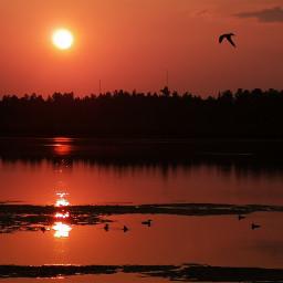 sunset lake reflection panorama naturephotography red
