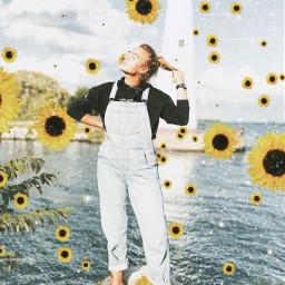 sunflowers replay woman sea lighthouse picsartreplay surreal freetoedit