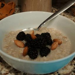 food breakfast oatmeal berries almonds