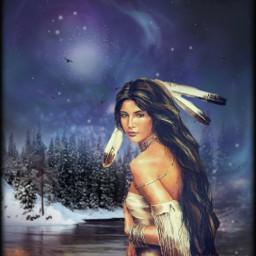 nativeamerican nature woman lake freetoedit