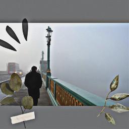 remixed fog light lamppost bridge bus cars man walking coat cold guy leaves freetoedit