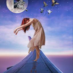surreal surrealart surrealistic surrealedit airplane airplanes airplaneremix sky blue bluesky pink sunset woman girl sleep sleepwalker pegion moon tiger dreem edit editedbyme editedwithpicsart myedit freetoedit