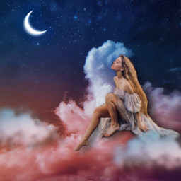 woman stars photomanipulation cloud photo sky peaceful serenity freetoedit
