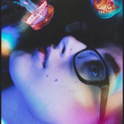 girl space sparkle neon dark lights underwater darkside light jelly jellyfish black neonpink freetoedit
