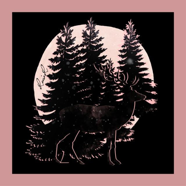 #deer #pink #moon #pinestrees  #magicalplace #wood #snow