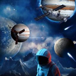 freetoedit space cosmos cosmonaut astronaut espace galaxy sattelite surreal planet night montains montagnes hills picsartedit jupiter