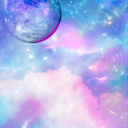 freetoedit gitter sparkle galaxy sky stars moon blue purple lights shimmer pastel cute girly cosmos nature landscape wallpaper background overlay