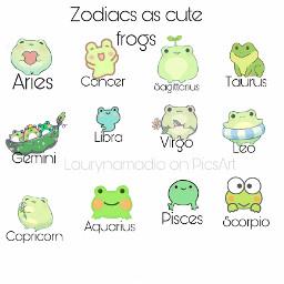 zodiac frog tiny cute aries cancer sagittarius taurus gemini libra virgo leo capricorn aquarius pices scorpio trending zodiacsigns sign aesthetic viral freetoedit