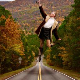 picsart like4like girl forest umbrella surreal nature fly autumn madewithpicsart freetoedit