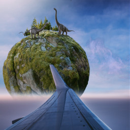 fantasy fantasyworld flyingisland flight aeroplane viewfromwindow dinosaurs freetoedit