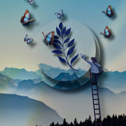 fantasy imagination interesting blue aesthetic butterflies editedbyme cutouttool fantasticedit freetoedit