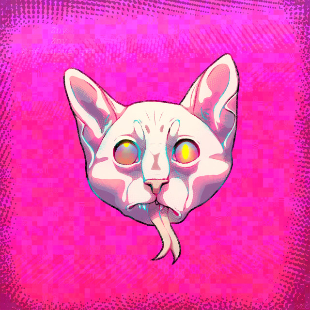 taking a break from the ocs heres a wonderful sphynx thing i made while tired 😸  #sphynx #sphynxcat #popart #art #drawing #digitalart #digitalmakeup #digitalartwork