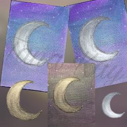 moon silverstars silvermoon teal purple blue shiny painting black white art crescentmoon crescent bytanakay tanakay