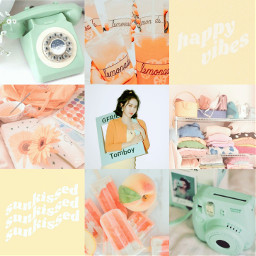 sinb gfriend kpop moodboard aesthetic gfriendsinb kpopidol kpopgirl moodboardaesthetic aestheticmoodboard pastel retro pastelretro pastelaesthetic retroaesthetic orange yellow green lemonade popsicle fruit polaroid telephone mago freetoedit